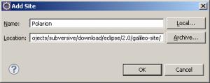 Fenêtre d'ajout de site de mise à jour sous Eclipse