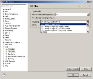 Changement de l'encodage par défaut des fichiers dans Eclipse