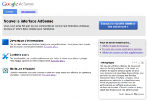 Nouvelle Interface Adsense Version 3