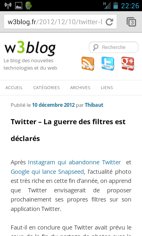 w3blog sous android