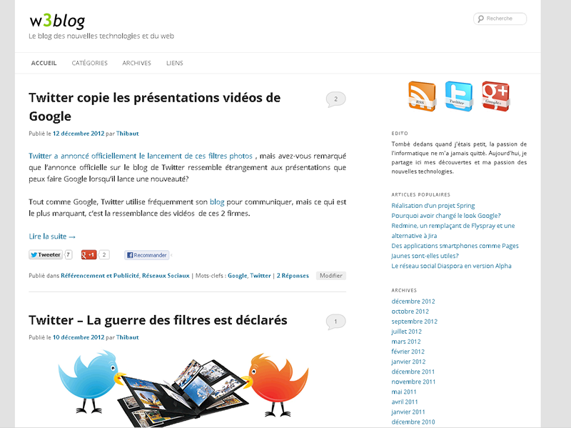 w3blog sur un écran PC et tablette paysage.